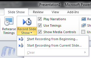 Office 2010 Record Powerpoint slideshows as videos