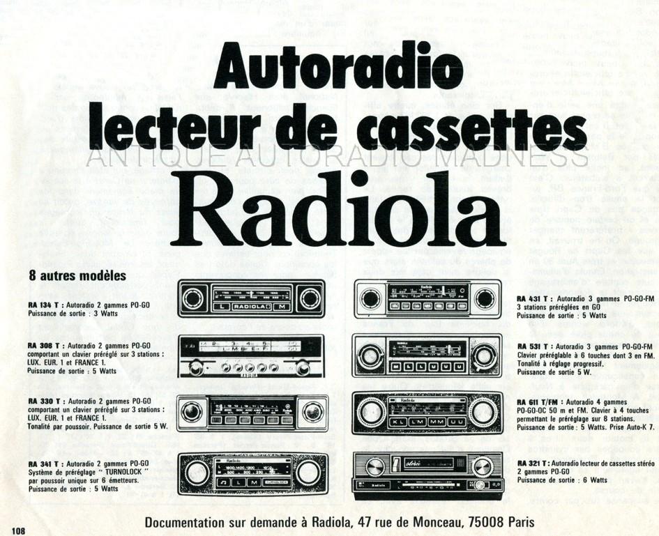 Ancienne publicité autoradios RADIOLA 1971 - Gamme autoradios