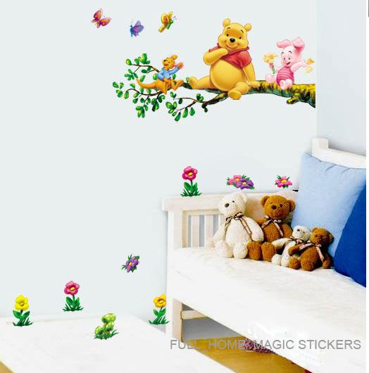 WINNIE THE POOH 2PCS WALL ART DECO MURAL STICKER BABY KIDS NURSERY