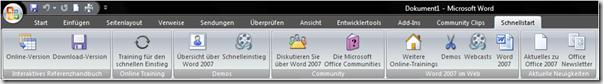 Schnellstart in die Multifunkltionsleiste von Office 2007 integrieren