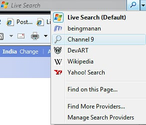 IE 8 Search