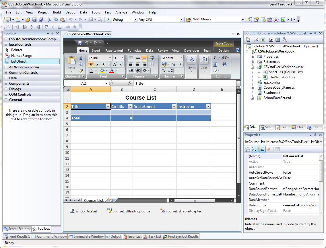 Excel工作表设计界面