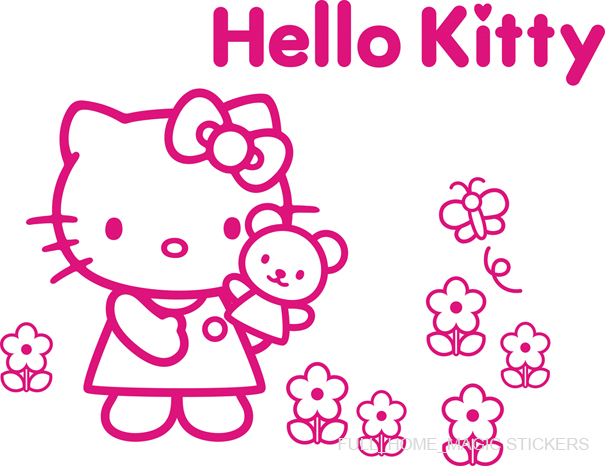 Details about hello kitty bear vinyl wall sticker girls room decor