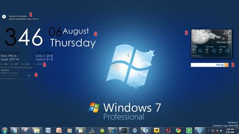 Windows 7 Professional Blue Rainmeter Desktop Screenshot