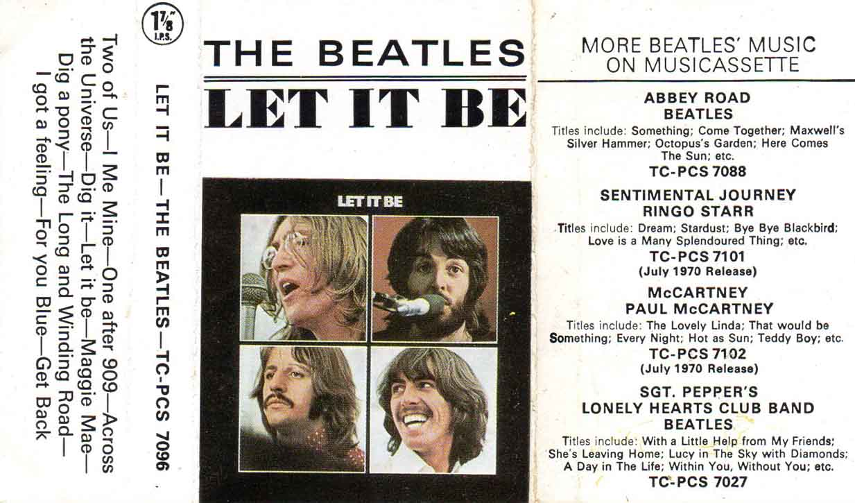 1970 Let it be UK Cassette Inlay