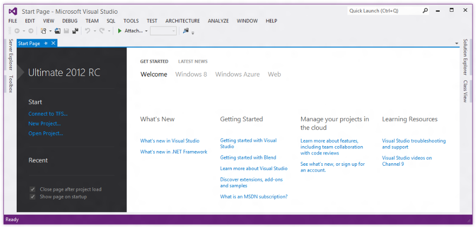 Visual Studio 2012 Ultimate Release Candidate Screenshot